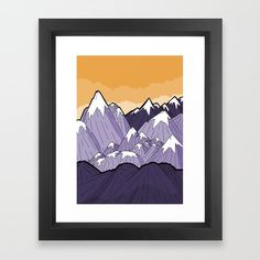 Mountains under the orange sky Framed Art Print by stevewade | Society6