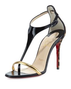 Athena+Calf+Hair+T-Strap+Sandal,+Black+by+Christian+Louboutin+at+Neiman+Marcus.