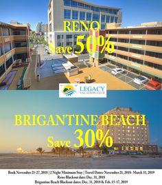 Experience a vacation like no other at Legacy Vacation Resorts, a collection of spacious and affordable resorts located in premier destinations coast to coast. Vacation Club, Vacation Resorts, Brigantine Beach, New Jersey Beaches, Beach Town, Travel Deals, Nevada, Coast, Island