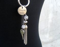 Silver Leather Tassel Necklace - Long Dangling Assemblage Necklace - Key - Crystal - Imagine
