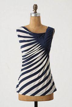 navy blue & white striped skirt DIY