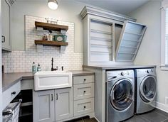 diy backsplash kitchen gray laundry room features gray shaker cabinets accented 3389