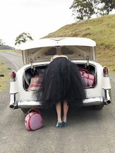 Road trip. Hat box and tulle skirt.