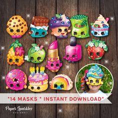 Shopkins masks shopkins party cake masks by PaperSparkleDesigns