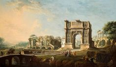 Antonio Joli The Arch of Trajan at Benevento, with a group of visitors led by Maria Amalia of Saxony, and an artist sketching