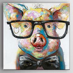 【今だけ☆送料無料】 アートパネル  動物画1枚で1セット アニマル ピック ブタ メガネ豚【納期】お取り寄せ2~3週間前後で発送予定
