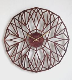 North Star Laser Cut Wood Clock | This wall clock is crafted from birch wood that is laser cut i... | Clocks