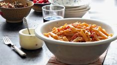 Penne alla vodka is the perfect recipe for easy entertaining: short pasta is easier to cook in quantity than long strands and the sauce is amusingly retro -- think 1960s Rome, where the dish originated. But it is seriously good. (Photo: Suzy Allman for The New York Times) Vodka Recipes, Pasta Recipes, Dinner Recipes, Cooking Recipes, Cooking Dishes, Cooking Games, Dinner Ideas, Penne Ala Vodka, Vodka Sauce Pasta