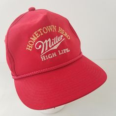 Vintage Miller High Life Hat Hometown Hero Red Embroidered Strapback Cap by TraSheeWomen on Etsy Miller High Life, Strapback Cap, Hometown Heroes, Hats For Sale, Baseball Hats, Embroidery, Logo, Trending Outfits, Unique Jewelry