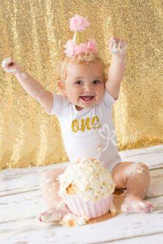 First birthday gold cakesmash, cake smash, goud