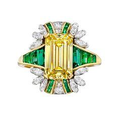 Estate Fancy Vivid Yellow Diamond and Emerald Cocktail Ring by Raymond C Yard.