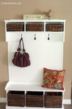 #potterybarn knockoff shelf/bench with hooks and links to the building plans
