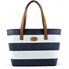 Michael Kors Jet Set Saffiano Leather Small Trave Stripe Tote Navy White