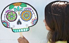 sugar skull mask1 Make your own Day of the Dead mask (free printable!)