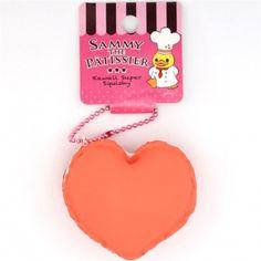 cute coral orange heart macaron ice sandwich squishy cellphone charm kawaii