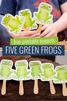 Five Green Frogs Printable Puppets – Picklebums Five Green Frogs Printable Puppets – these are great for singing your favourite frog pond, or for play dough or imaginative play. Frogs Preschool, Preschool Colors, Preschool Songs, Preschool Themes, Preschool Printables, Preschool Crafts, Diy Crafts, Summer Crafts For Toddlers, Songs For Toddlers