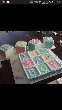 Baby blocks, baby boy, baby shower cake, no fondant
