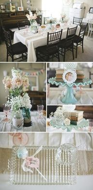 Shabby Chic Baby Shower - love the burlap and yarn mason jars especially with the safety pins