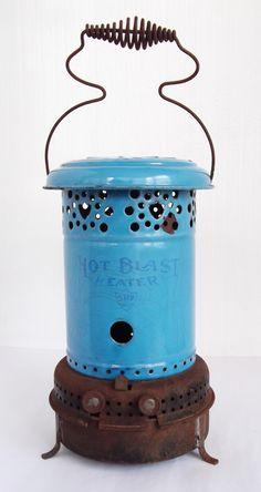 Antique Kerosene Heater Blue Enamel - Hot Blast Kerosene Space Heater - Blue Enamel Space Heater, Vintage Space Heater, Shabby Chic Decor by bequirksy on Etsy Kerosene Heater, Kerosene Lamp, Shabby Chic Homes, Shabby Chic Decor, Outside Wood Stove, Shabby Vintage, Retro Vintage, Oil Heater, Antique Stove