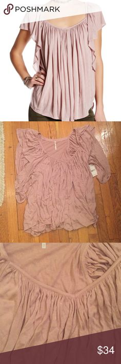 """NWT Free People Forever and Always Shirt Details - V-neck - Short butterfly sleeves - Curved hem - Approx. 25"""" length - Approx 16 inches pit to pit  - Imported Fiber Content 100% rayon Free People Tops Tees - Short Sleeve"""