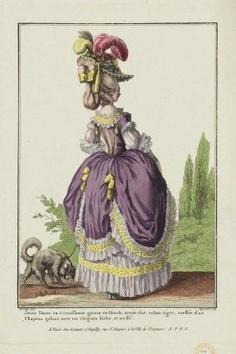 """Gallerie des Modes et Costumes Français. 8e. Cahier des Costumes français. 2e Suite d'Habillemens de Femmes à la mode. H.44 (duplicate) """"Jeune Dame en Circassienne garnie de blonde..."""""""