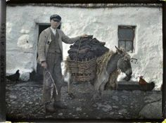 Turf transport, An Spidéal, Galway, 31 May, 1913. Old colour photos of Ireland in 1913