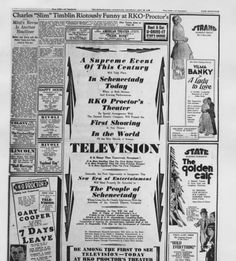 Copy of first advertisment of television entertainment in Schenectady on May 22, 1930.