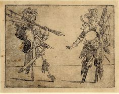 Giovanni Battista Braccelli: Bizzarie di varie figure ... 1624. Plate 17: two figures holding spears and flags