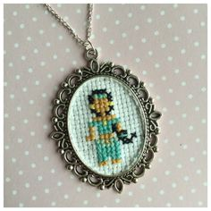 Disney cross stitch necklaces princess by BuckleberryFerry