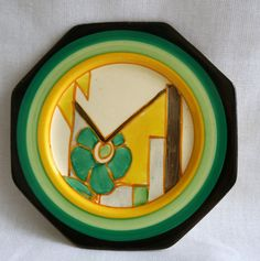 A Rare Clarice Cliff Plate in Moonflower design Produced in Pottery, Porcelain & Glass, Pottery, Clarice Cliff Clarence Cliff, Moonflower, Yellow Brick Road, Vintage Cups, Art Deco Era, Ceramic Artists, Tins, Pottery Art, Art Nouveau