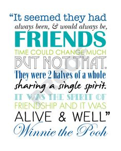 Printable WINNIE THE POOH Friendship Quote by JaydotCreative
