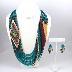 Beaded Necklace and Earring Set – Garlands Indian Jewelry by Rena Charles, Navajo Seed Bead Necklace, Seed Bead Jewelry, Diy Jewelry, Beaded Jewelry, Jewelery, Handmade Jewelry, Jewelry Design, Necklace Set, Diamond Jewelry