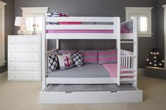 """The Maxtrix Kids """"Get It"""" Twin over Twin Medium High Bunk with Straight Ladder is the perfect addition to your young ones room. Featured with an added trundle bed for all those sleepovers! Available in three finishes - Natural, White or Chestnut. Shop the Get It and more at www.MaxtrixKids.com"""