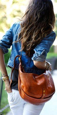 Love the saddle leather bag, the whole ensemble is stylish.