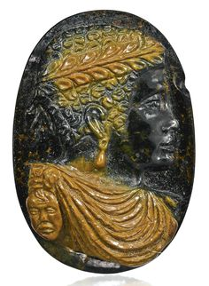 ITALIAN, 17TH CENTURY CAMEO WITH AN EMPEROR OR BLACK WARRIOR IN PROFILE green and brown jasper