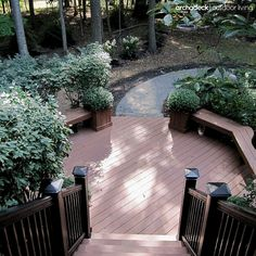 Blending with the lay-of-the-land, this multilevel deck design fits right into the natural surroundings with a gradual descent from home to yard.