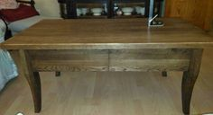 Oak table with 4 drawers finally done ! Stained and wax finished. Awaiting brass handles only.