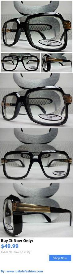 Unisex accessories  Mens Women Classic Retro Vintage Fashion Clear Lens Eye  Glasses Black Gold Frame d343214ec5