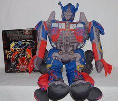 "TRANSFORMERS OPTIMUS PRIME 30"" Tall Plush Pal Stuffed Toy Cuddle Pillow & Book #Hasbro"