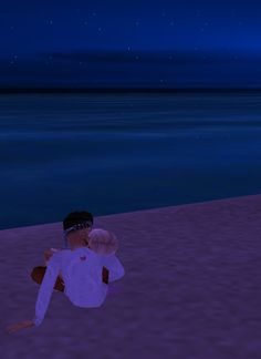 Mon chéri et moi, devant la plage, câlin, bisou♥.
