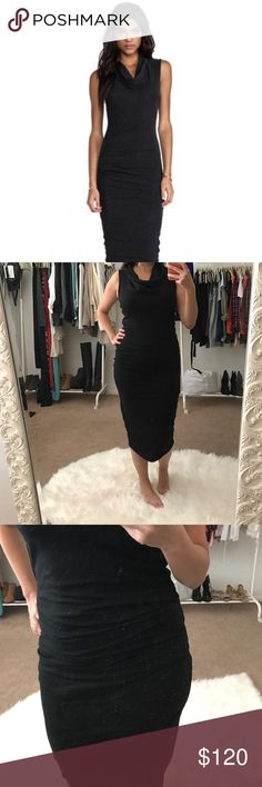 Flash Sale! James Perse Cowl Neck Dress James Perse Cowl Neck Dress.  Cinched at tummy on one side.  Gives it a slimming effect.  Worn once, James Perse size 3. James Perse Dresses Midi