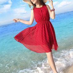 Red Polka Dots Knee Length Beach Tank Dress