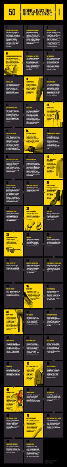 Infographic: 50 Mistakes Dudes Make While Getting Dressed