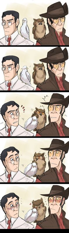 TF2- BURDS by MadJesters1 on DeviantArt<< I SHIP ARCHIMEDES AND THE OWL. But not Medic and Sniper. JUST THE BIRD'S.