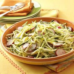 Summer Squash Salad Recipe. Julienned Zucchini, yellow squash, with herb mix. Quick and crunchy Yellow&GreenFoods.