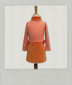 *Kleid+mit+Stehkragen,retro+60iger+Muster,+Gr.110*+von+Vibrant+17+four+auf+DaWanda.com