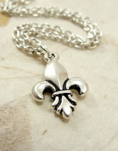 Fleur De Lis Necklace  Silver Plated Charm on a by treasuredcharms, $9.00
