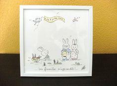 Superbe tableau pour chambre d'enfant au décor très doux, peint à la main par mes soins sur une plaque de faïence , montée sur un cadre en bois blanc . Le tableau peut être - 18597824