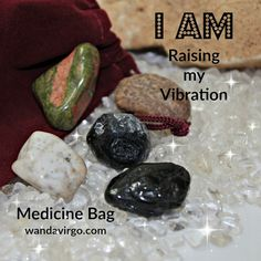 I AM High Vibes Crystal Medicine Bag.Affirmation: I AM releasing stuck energy & attuning to a higher energetic frequency by CrystalVibrations06 $8.88  #vibrations #crystal http://wandavirgo.com