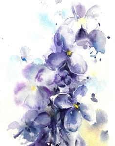 Watercolor Painting Art Print of Lilac Flowers, Purple Watercolour Wall Art